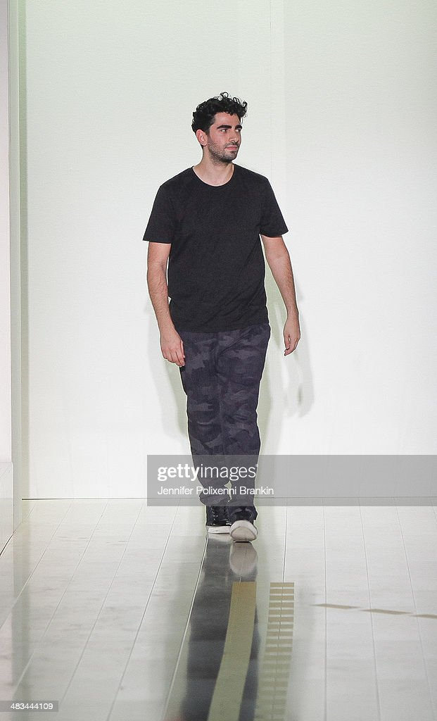 Designer <a gi-track='captionPersonalityLinkClicked' href=/galleries/search?phrase=Christopher+Esber+-+Fashion+Designer&family=editorial&specificpeople=10807607 ng-click='$event.stopPropagation()'>Christopher Esber</a> walks the runway at the <a gi-track='captionPersonalityLinkClicked' href=/galleries/search?phrase=Christopher+Esber+-+Fashion+Designer&family=editorial&specificpeople=10807607 ng-click='$event.stopPropagation()'>Christopher Esber</a> show during Mercedes-Benz Fashion Week Australia 2014 at Carriageworks on April 8, 2014 in Sydney, Australia.