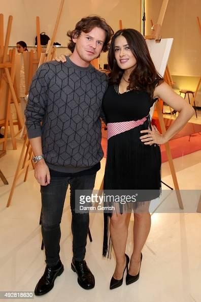 Designer Christopher Kane and Salma Hayek attend the Christopher Kane Art Class 2015 at Christopher Kane Flagship 67 Mount Street on October 15 2015...