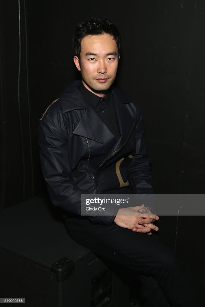 Designer, Chung Chung Lee, poses backstage at the LIE SANGBONG Fall-Winter 2016 Collection Show at Pier 59 on February 13, 2016 in New York, New York.