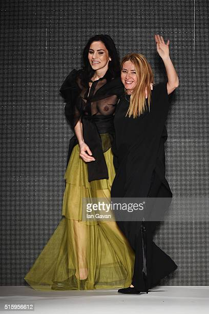 Designer Cigdem Akin attends her show during the MercedesBenz Fashion Week Istanbul Autumn/Winter 2016 at Zorlu Center on March 16 2016 in Istanbul...