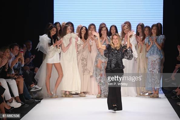 Designer Cigdem Akin walks the runway at the Cigdem Akin show during MercedesBenz Fashion Week Istanbul at Zorlu Center on October 15 2016 in...
