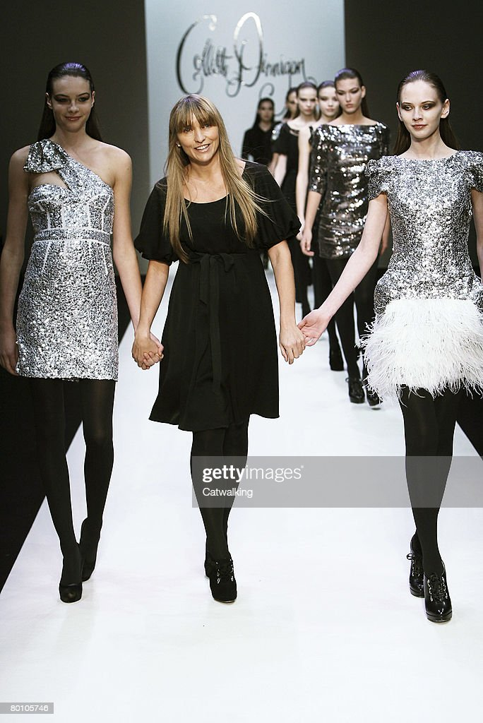 Designer Colette Dinnigan and the models walk the runway during the Colette Dinnigan Fall/Winter 2008/2009 collection during Paris Fashion Week on...