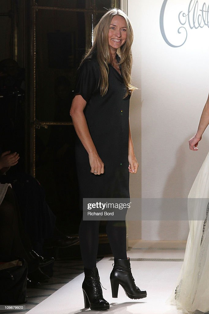 Designer Colette Dinnigan walks the runway after the Collette DInnigan Ready to Wear Autumn/Winter 2011/2012 show during Paris Fashion Week at Hotel...