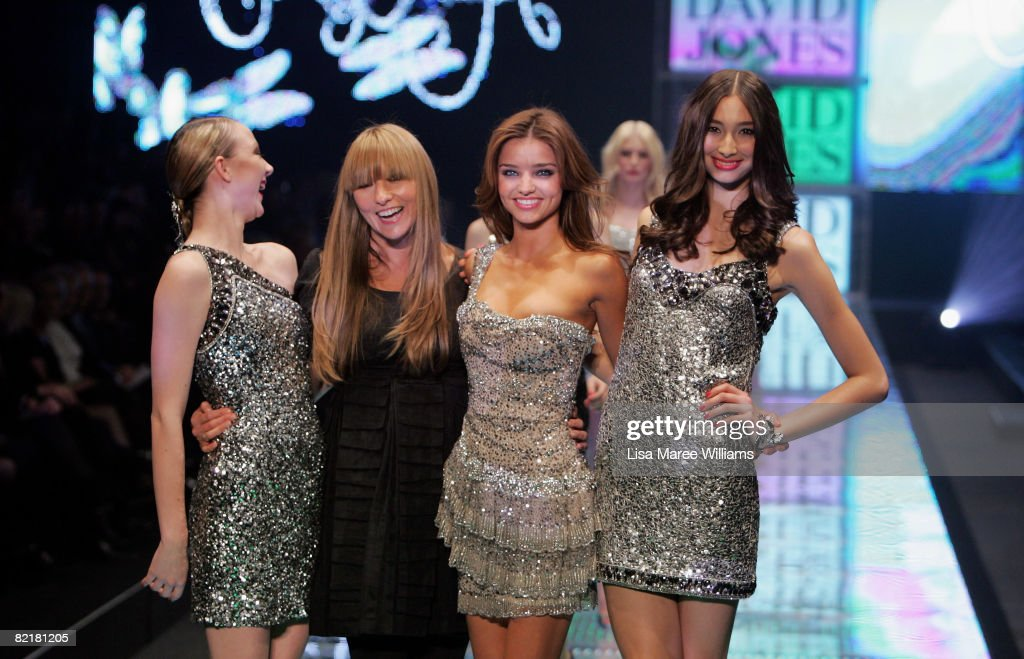 Designer Collette Dinnigan and model Miranda Kerr pose with models showcasing designs by Collette Dinnigan at the David Jones Summer 2008 Collections...