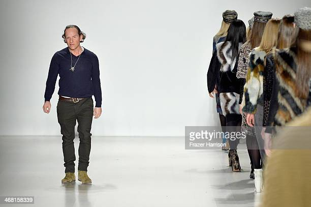 Designer Custo Dalmau walks the runway at the Custo Barcelona fashion show during MercedesBenz Fashion Week Fall 2014 at Lincoln Center on February 9...