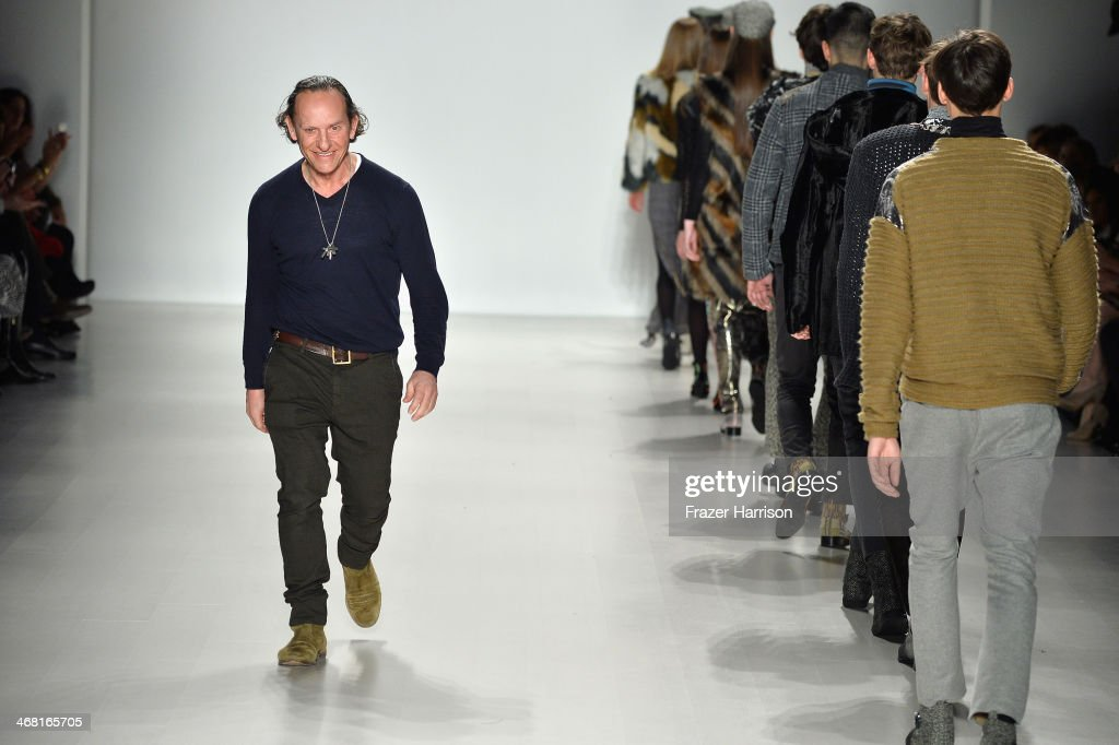 Designer <a gi-track='captionPersonalityLinkClicked' href=/galleries/search?phrase=Custo+Dalmau&family=editorial&specificpeople=3362263 ng-click='$event.stopPropagation()'>Custo Dalmau</a> walks the runway at the Custo Barcelona fashion show during Mercedes-Benz Fashion Week Fall 2014 at The Salon at Lincoln Center on February 9, 2014 in New York City.