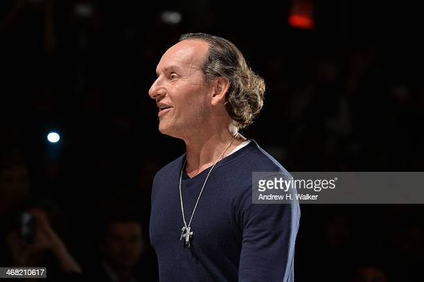 Designer Custo Dalmau walks the runway at the Custo Barcelona fashion show during MercedesBenz Fashion Week Fall 2014 at Lincoln Center for the...