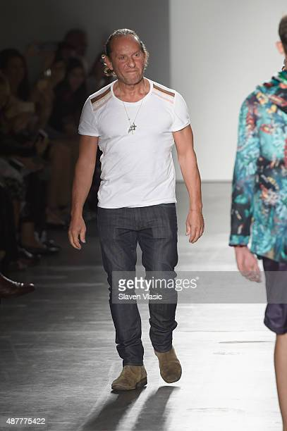 Designer Custo Dalmau walks the runway at the Custo Barcelona fashion show during Spring 2016 New York Fashion Week The Shows at Pier 59 on September...