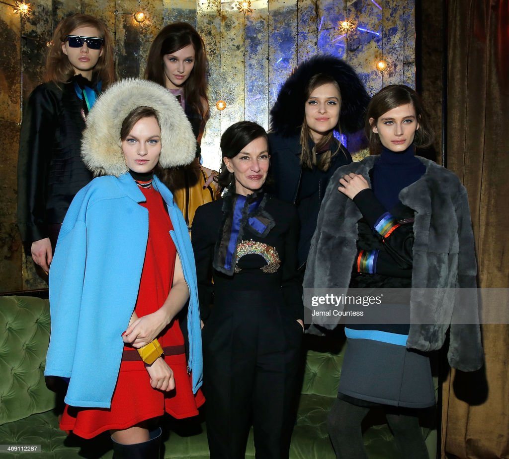 Designer <a gi-track='captionPersonalityLinkClicked' href=/galleries/search?phrase=Cynthia+Rowley+-+Fashion+Designer&family=editorial&specificpeople=10816667 ng-click='$event.stopPropagation()'>Cynthia Rowley</a> poses with models wearing <a gi-track='captionPersonalityLinkClicked' href=/galleries/search?phrase=Cynthia+Rowley+-+Fashion+Designer&family=editorial&specificpeople=10816667 ng-click='$event.stopPropagation()'>Cynthia Rowley</a> Fall 2014 at the <a gi-track='captionPersonalityLinkClicked' href=/galleries/search?phrase=Cynthia+Rowley+-+Fashion+Designer&family=editorial&specificpeople=10816667 ng-click='$event.stopPropagation()'>Cynthia Rowley</a> Fall 2014 Presentation during Mercedes-Benz Fashion Week Fall 2014 at The Diamond Horseshoe on February 12, 2014 in New York City.