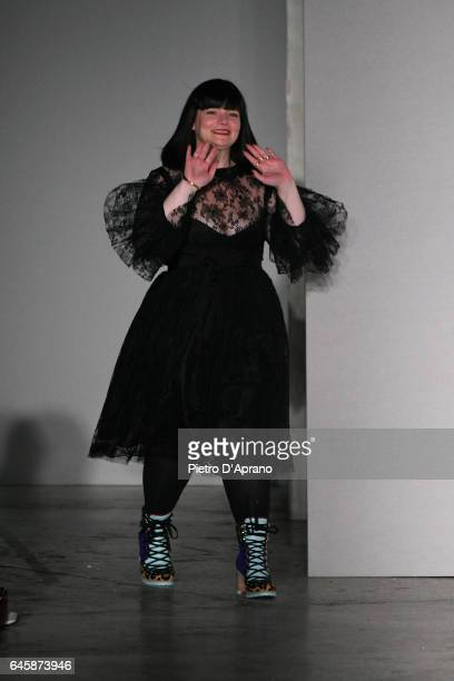 Designer Daizy Shely walks the runway after the Daizy Shely show during Milan Fashion Week Fall/Winter 2017/18 on February 27 2017 in Milan Italy