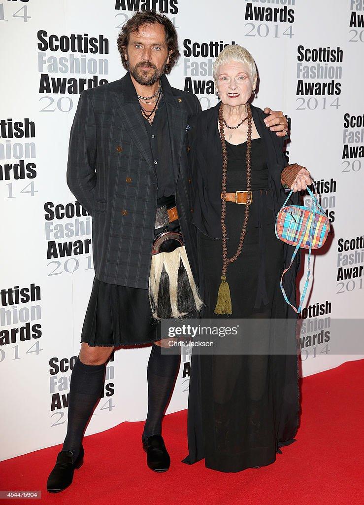 Designer Dame Vivienne Westwood and Andreas Kronthaler attends The Scottish Fashion Awards on September 1 2014 in London England