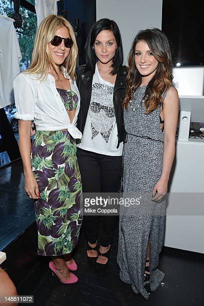 designer Dani Stahl DJ/model Leigh Lezark and actress Shenae Grimes attends the KARL x I LOVE DUST launch party on May 31 2012 in New York City