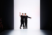 Designer Daniel Blechman and RJ Mitte are seen on the runway at the Sopopular show during the MercedesBenz Fashion Week Berlin Spring/Summer 2016 at...