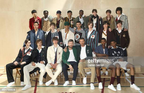 Designer Daniel Kearns with David Beckham and models at the Kent Curwen SS18 LFWM Presentation on June 11 2017 in London England