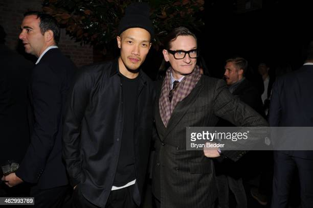 Designer DaoYi Chow and editoratlarge of Vogue Hamish Bowles attend the event celebrating the launch ofÊThe Fashion FundÊon Ovation at Toro on...