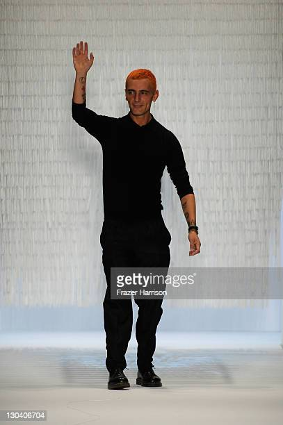 Designer David Delfin on the runway during Davidelfin Spring 2010 presented by MercedesBenz at Bryant Park on September 10 2009 in New York City