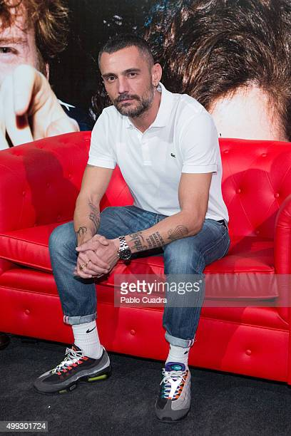 Designer David Delfin presents AIDS charity campaign at Luchana Theatre on November 30 2015 in Madrid Spain