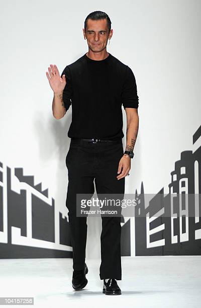 Designer David Delfin walks the runway at the Davidelfin Spring 2011 fashion show during the MercedesBenz Fashion Week Spring 2011 Official Coverage...