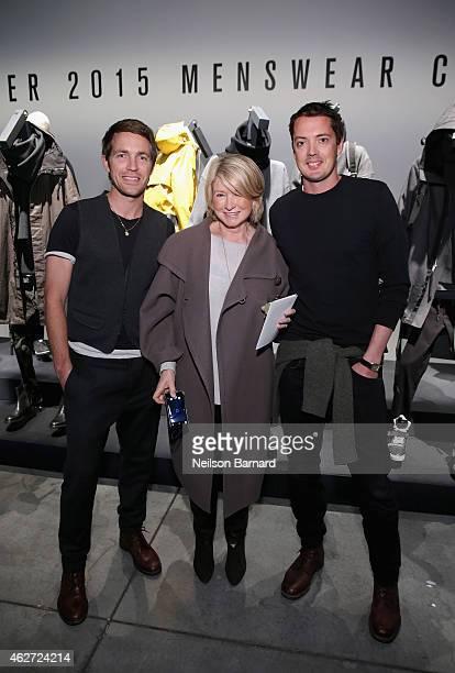 Designer David Neville Martha Stewart and designer Marcus Wainwright attend Rag Bone Fall/Winter 2015 Menswear Presentation at Dia Center on February...