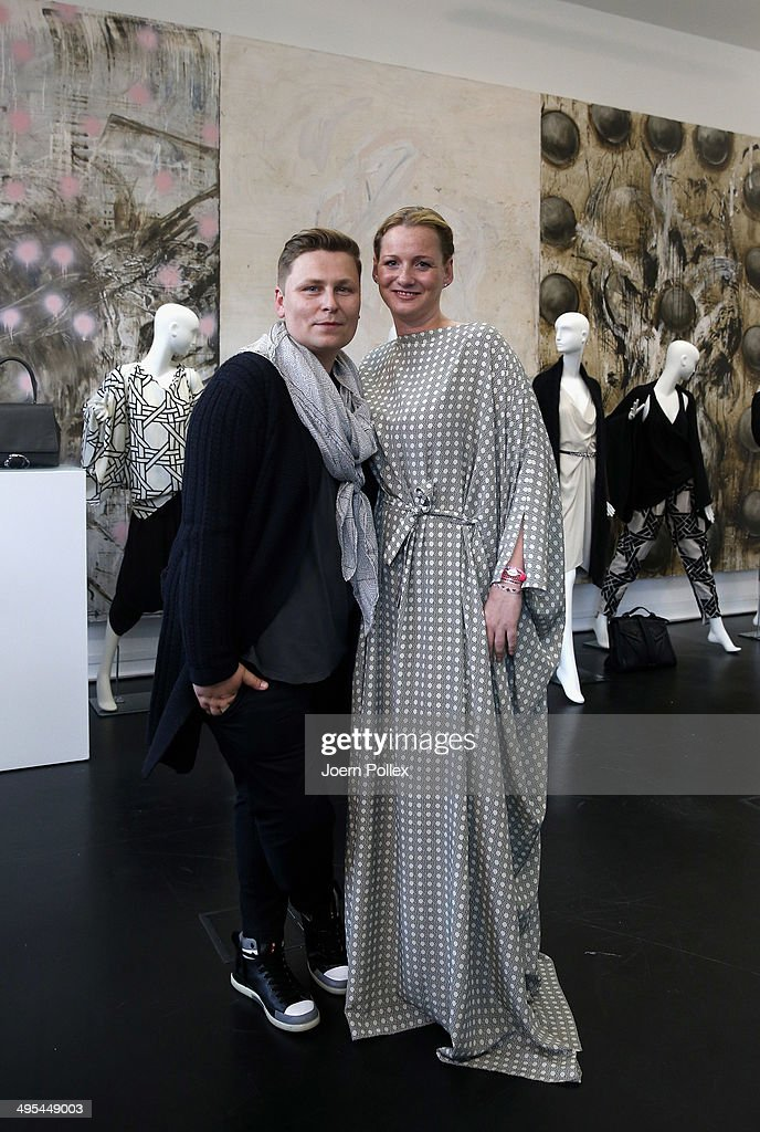 Designer Dawid Tomaszewki (L) and Jenny Falckenberg pose during the 'Dawid Tomaszewki Pop-Up Store Opening' on June 3, 2014 in Hamburg, Germany.