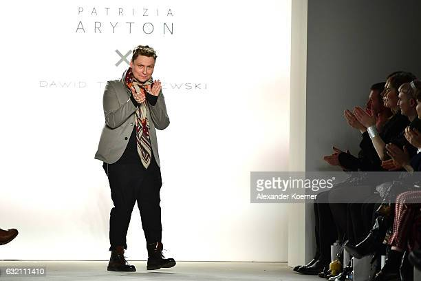 Designer Dawid Tomaszewski acknowledges the audience at the Dawid Tomaszewski X Patrizia Aryton show during the MercedesBenz Fashion Week Berlin A/W...