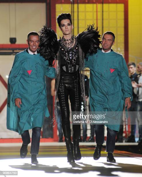 Designer Dean Caten Tokio Hotel singer Bill Kaulitz and deigner Dan Caten walk the runway during the DSquared2 Milan Menswear Autumn/Winter 2010 show...