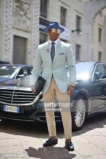 Designer Dejon Marquis poses wearing Dejon Marquis jacket and bag on June 21 2015 in Milan Italy