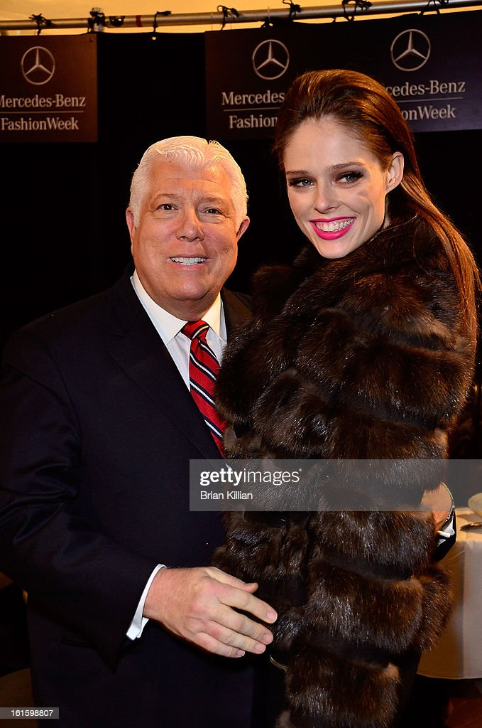 Designer Dennis Brasso and model <a gi-track='captionPersonalityLinkClicked' href=/galleries/search?phrase=Coco+Rocha&family=editorial&specificpeople=4172514 ng-click='$event.stopPropagation()'>Coco Rocha</a> attend Dennis Basso during Fall 2013 Mercedes-Benz Fashion Week at The Stage at Lincoln Center on February 12, 2013 in New York City.