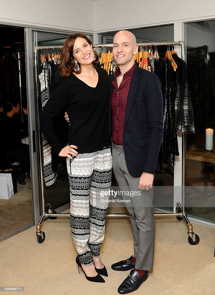 Designer Derek Farrar of Parker and Mandy Moore, wearing Everlane and Parker, attend A Parker Party on December 10, 2013 in Los Angeles, California.