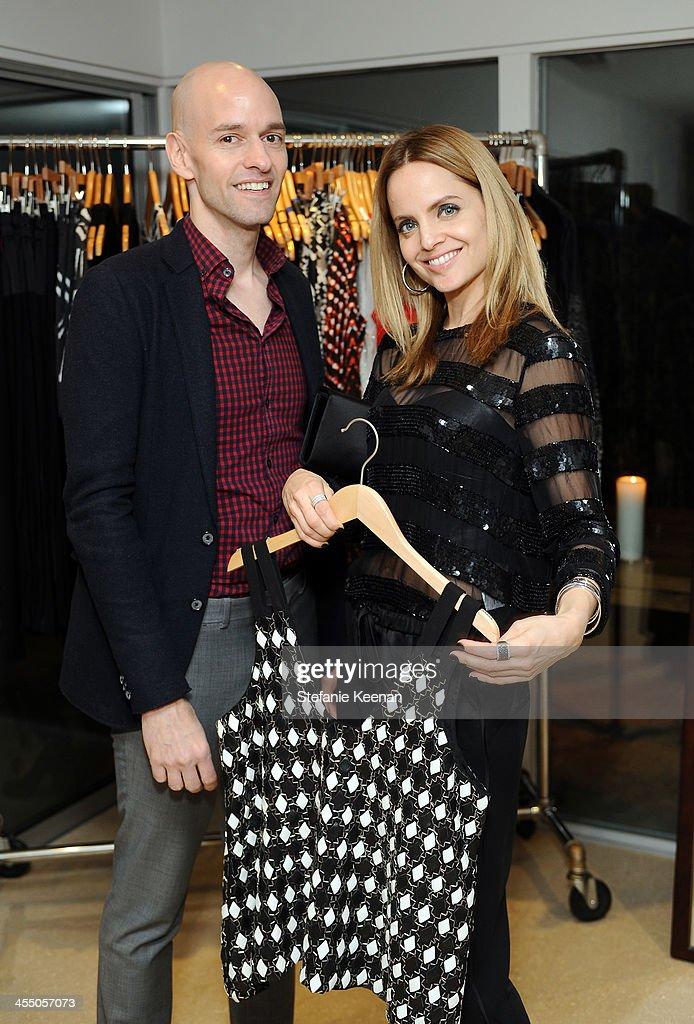 Designer Derek Farrar of Parker and <a gi-track='captionPersonalityLinkClicked' href=/galleries/search?phrase=Mena+Suvari&family=editorial&specificpeople=156413 ng-click='$event.stopPropagation()'>Mena Suvari</a> attend A Parker Party on December 10, 2013 in Los Angeles, California.