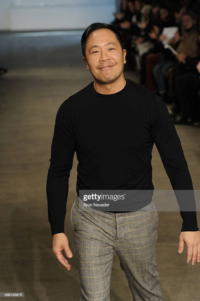 Designer <a gi-track='captionPersonalityLinkClicked' href=/galleries/search?phrase=Derek+Lam+-+Fashion+Designer&family=editorial&specificpeople=10853586 ng-click='$event.stopPropagation()'>Derek Lam</a> walks the runway at the <a gi-track='captionPersonalityLinkClicked' href=/galleries/search?phrase=Derek+Lam+-+Fashion+Designer&family=editorial&specificpeople=10853586 ng-click='$event.stopPropagation()'>Derek Lam</a> fashion show during Mercedes-Benz Fashion Week Fall 2014 at Sean Kelly Gallery on February 9, 2014 in New York City.