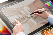 designer graphic drawing interior creative creativity draw work tablet screen sketch designing design artist color concept - stock image NOTE TO INSPECTOR: I am the author of everything that you see i