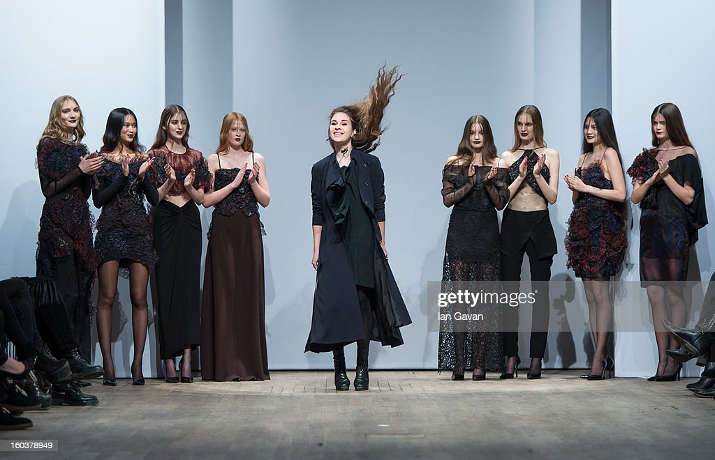 Designer Diana Orving appears with the models after her Diana Orving at Mercedes-Benz Stockholm Fashion Week Autumn/Winter 2013 at Berns on January 30, 2013 in Stockholm, Sweden.
