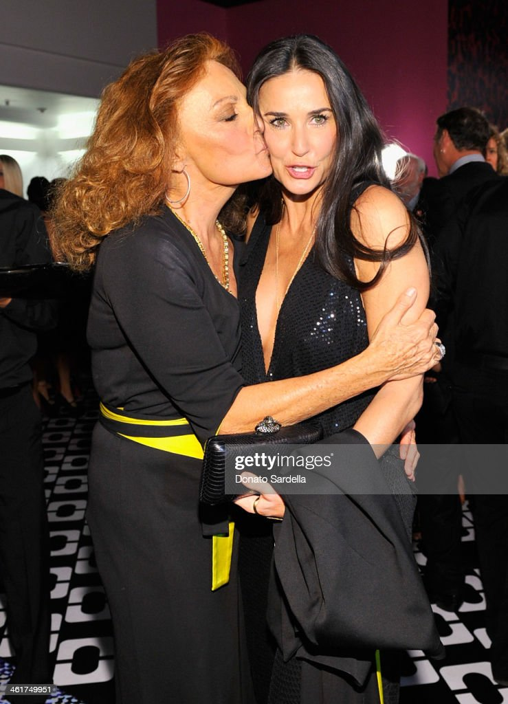 Designer Diane Von Furstenberg (L) and actress <a gi-track='captionPersonalityLinkClicked' href=/galleries/search?phrase=Demi+Moore&family=editorial&specificpeople=202121 ng-click='$event.stopPropagation()'>Demi Moore</a>, wearing Diane Von Furstenberg, attend Diane Von Furstenberg's Journey of A Dress Exhibition Opening Celebration at May Company Building at LACMA West on January 10, 2014 in Los Angeles, California.