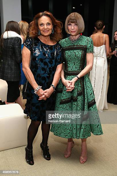 Designer Diane Von Furstenberg and Anna Wintour attend the 11th annual CFDA/Vogue Fashion Fund Awards at Spring Studios on November 3 2014 in New...