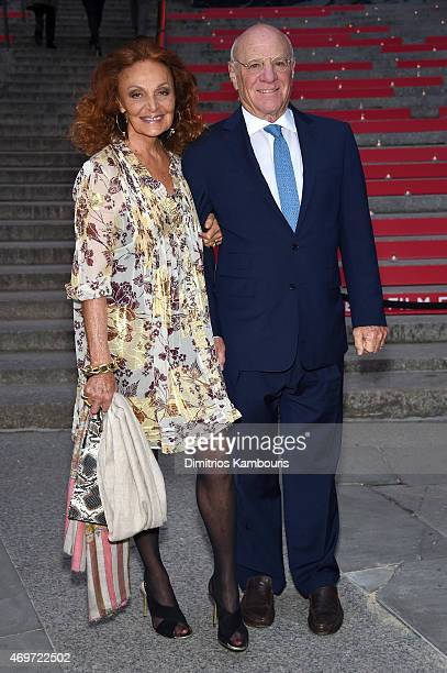 Designer Diane von Furstenberg and Barry Diller attend the Vanity Fair Party during the 2015 Tribeca Film Festival at the New York State Supreme...