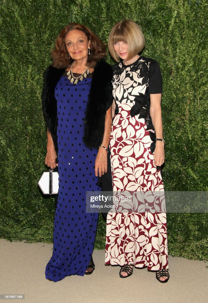 Designer Diane von Furstenberg and Editor-in-chief of American Vogue Anna Wintour attend CFDA and Vogue 2013 Fashion Fund Finalists Celebration at Spring Studios on November 11, 2013 in New York City.
