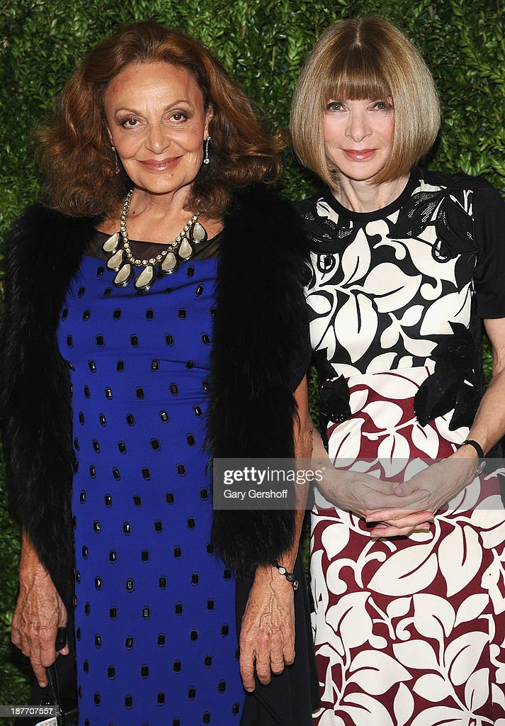 Designer Diane von Furstenberg (L) and editor-in-chief of American Vogue <a gi-track='captionPersonalityLinkClicked' href=/galleries/search?phrase=Anna+Wintour&family=editorial&specificpeople=202210 ng-click='$event.stopPropagation()'>Anna Wintour</a> attend The CFDA and Vogue 2013 Fashion Fund Finalists Celebration at Spring Studios on November 11, 2013 in New York City.