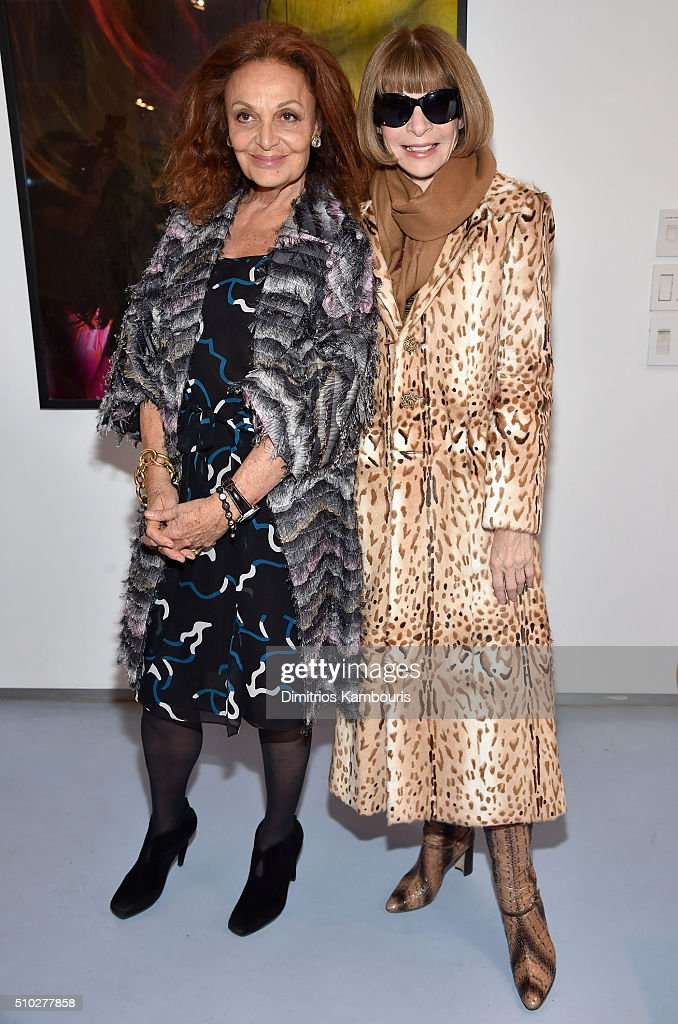 Designer Diane Von Furstenberg and Editor-in-chief of American Vogue <a gi-track='captionPersonalityLinkClicked' href=/galleries/search?phrase=Anna+Wintour&family=editorial&specificpeople=202210 ng-click='$event.stopPropagation()'>Anna Wintour</a> pose backstage during Diane Von Furstenberg Fall 2016 during New York Fashion Week on February 14, 2016 in New York City.