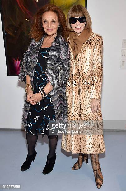 Designer Diane Von Furstenberg and Editorinchief of American Vogue Anna Wintour pose backstage during Diane Von Furstenberg Fall 2016 during New York...