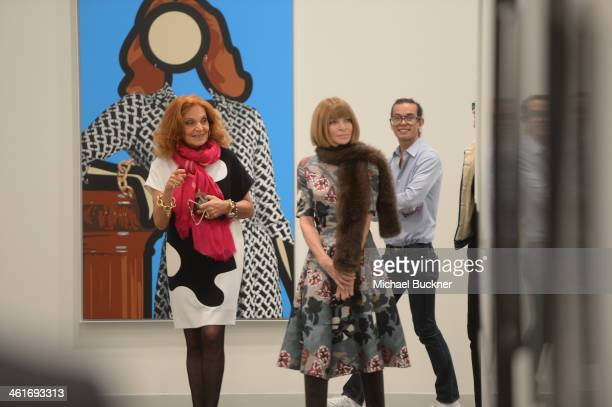 Designer Diane von Furstenberg and EditorinChief Vogue Magazine Anna Wintour tour artwork at 'Journey Of A Dress' at LACMA West on January 10 2014 in...