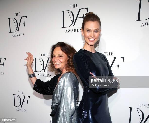 Designer Diane von Furstenberg and Karlie Kloss attend the 2017 DVF Awards at United Nations on April 6 2017 in New York City