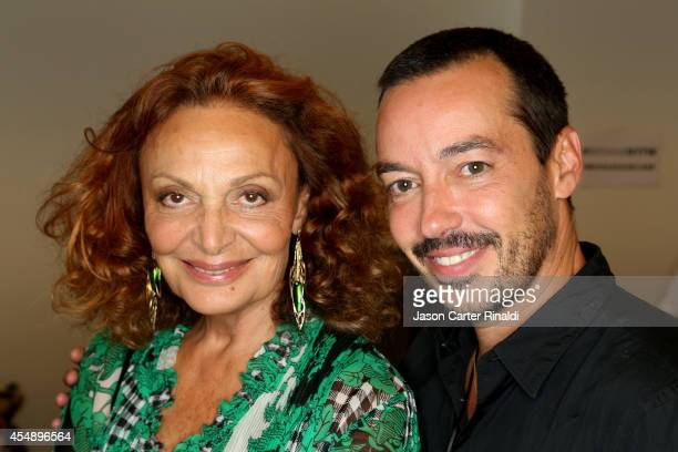 Designer Diane von Furstenberg and stylist Orlando Pita are seen backstage at BioSilk Haircare For DVF during MercedesBenz Fashion Week Spring 2015...