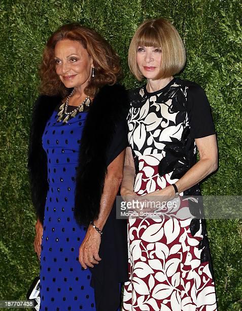 Designer Diane von Furstenberg anf Editorinchief of American Vogue Anna Wintour attend CFDA and Vogue 2013 Fashion Fund Finalists Celebration at...