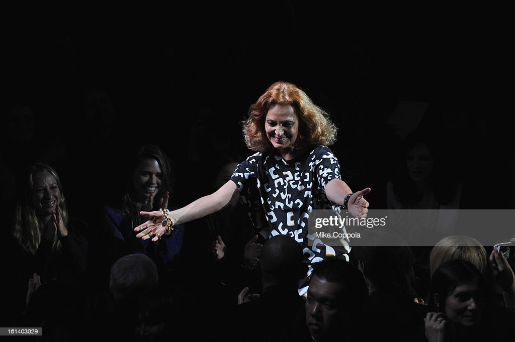 Designer Diane Von Furstenberg at the Diane Von Furstenberg Fall 2013 fashion show during Mercedes-Benz Fashion at The Theatre at Lincoln Center on February 10, 2013 in New York City.