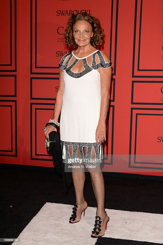 Designer Diane von Furstenberg attends 2013 CFDA FASHION AWARDS Underwritten By Swarovski - Red Carpet Arrivals at Lincoln Center on June 3, 2013 in New York City.