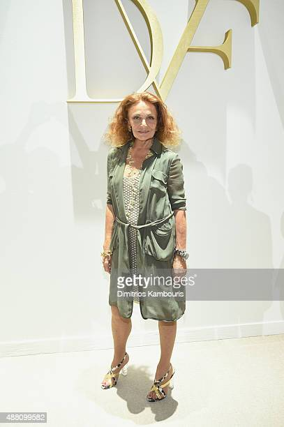 Designer Diane Von Furstenberg attends Diane Von Furstenberg Spring 2016 fashion show during New York Fashion Week at Spring Studios on September 13...