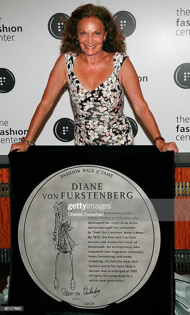 Designer Diane von Furstenberg attends Diane von Furstenberg's and Liz Claiborne's induction into Seventh Avenue's Fashion Walk of Fame at the Bryant...
