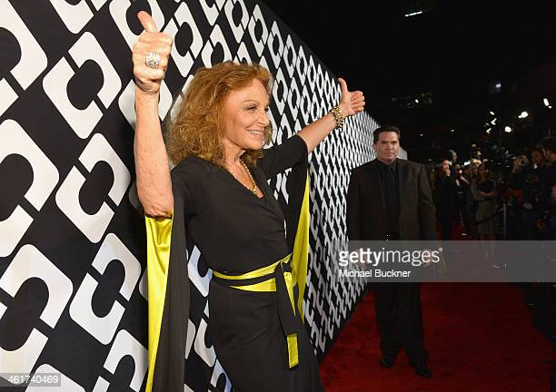 Designer Diane Von Furstenberg attends Diane Von Furstenberg's Journey of A Dress Exhibition Opening Celebration at May Company Building at LACMA...