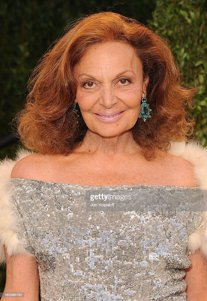 Designer Diane von Furstenberg attends the 2013 Vanity Fair Oscar party at Sunset Tower on February 24, 2013 in West Hollywood, California.